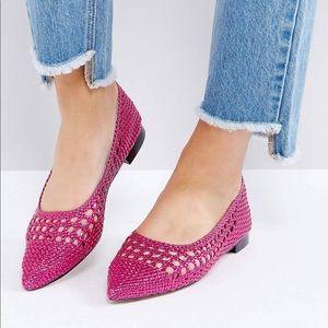 Pink metallic weave flats ASOS